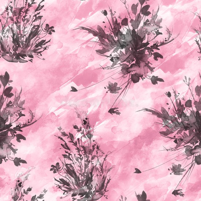 Watercolor vintage seamless pattern, floral pattern, pink, roses, poppy, buds. Plants, flowers, grass in floral ,wild grass stock illustration