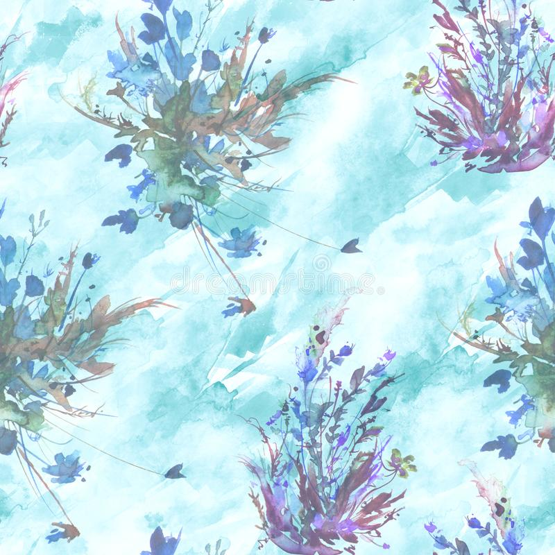 Watercolor vintage seamless pattern, floral pattern, pink, roses, poppy, buds. Plants, flowers, grass in floral ,wild grass royalty free illustration