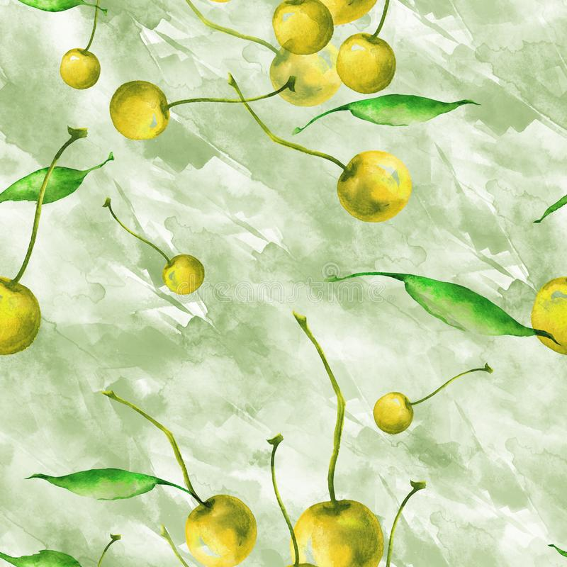 Watercolor, vintage, seamless pattern - plum branch, cherry berry, leaf. Sprig plums with leaves royalty free illustration