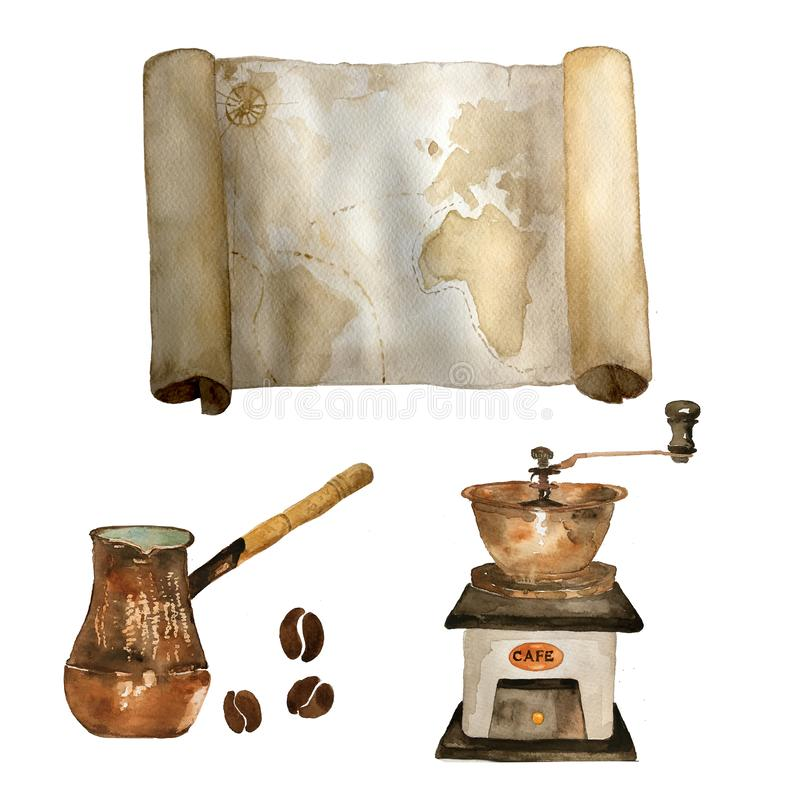 Watercolor vintage set of nautical old map, coffee grinder, coffee beans and cezve hand drawn isolated on white. For royalty free illustration