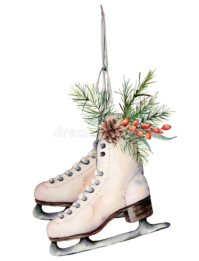 Watercolor vintage skates with Christmas decor. Hand painted white skates with fir branches, berries and fir cone. Isolated on white background. Holiday symbol stock illustration