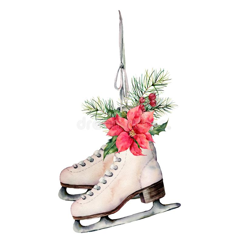 Watercolor vintage skates with Christmas floral decor. Hand painted white skates with fir branches, berries, holly. Poinsettia and fir cone isolated on white royalty free illustration