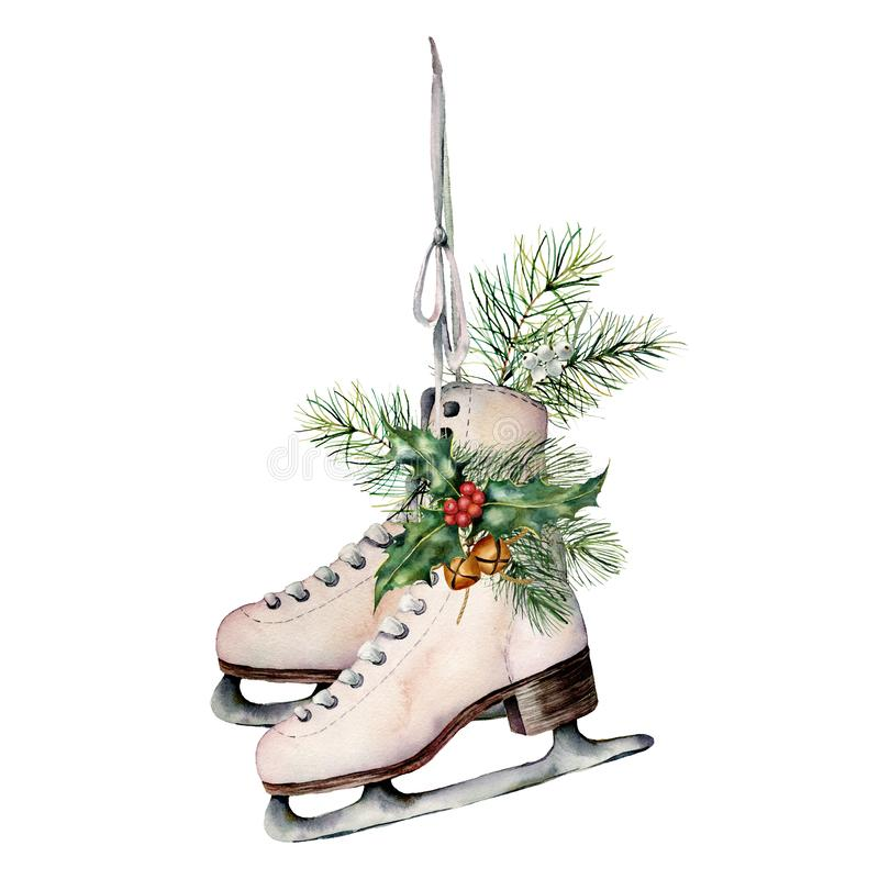 Watercolor vintage skates with winter floral decor. Hand painted white skates with fir branches, berries, holly. Poinsettia and fir cone isolated on white stock illustration