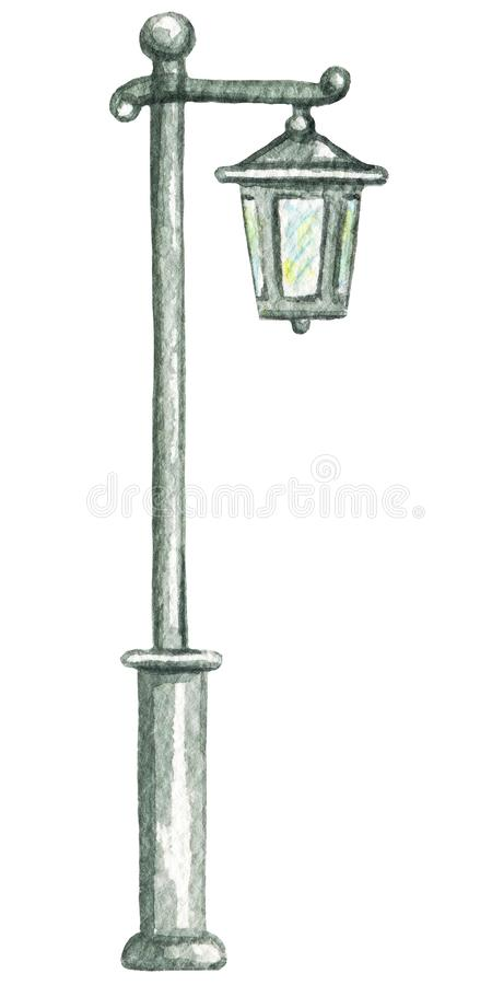 Watercolor vintage street light royalty free illustration