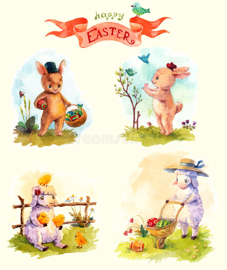 Download Watercolor Vintage Style Easter Collection Cute Animals Stock Vector