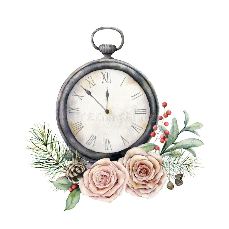 Watercolor vintage table clock with roses. Christmas illustration with vintage watch isolated on white background. Five. Minutes to twelve o`clock of new year royalty free stock photos