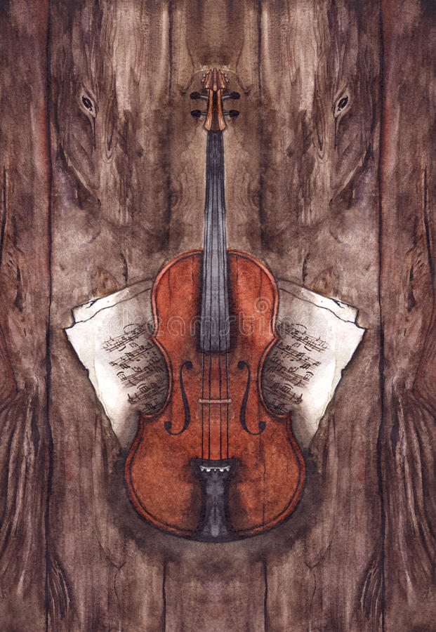 Watercolor vintage violin fiddle musical instrument with music notes on wooden texture background stock illustration