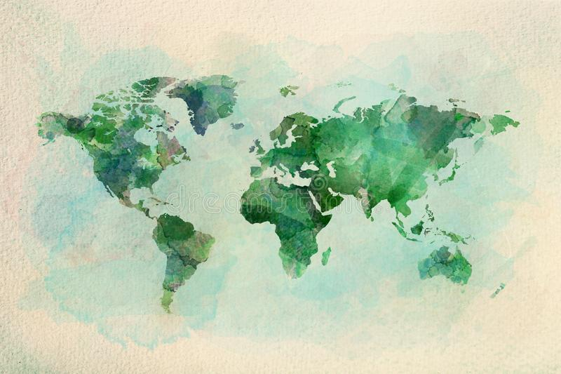 Watercolor vintage world map in green colors stock illustration