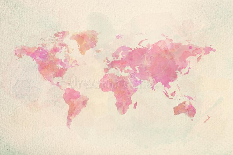 Watercolor vintage world map in pink colors stock illustration
