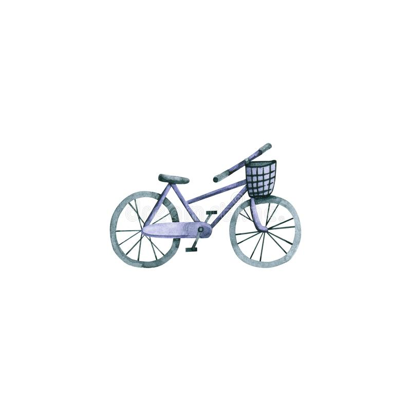 Watercolor violet bicycle. Hand drawn illustration isolated on white royalty free illustration
