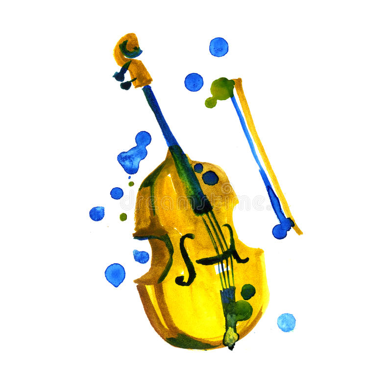 Watercolor violin isolated. Painted design element. Music, classic. royalty free illustration