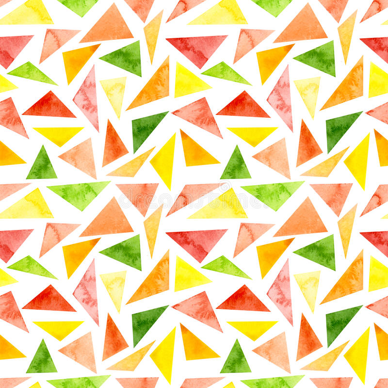 Watercolor Vivid Green and Pink Triangles Repeat Pattern stock illustration