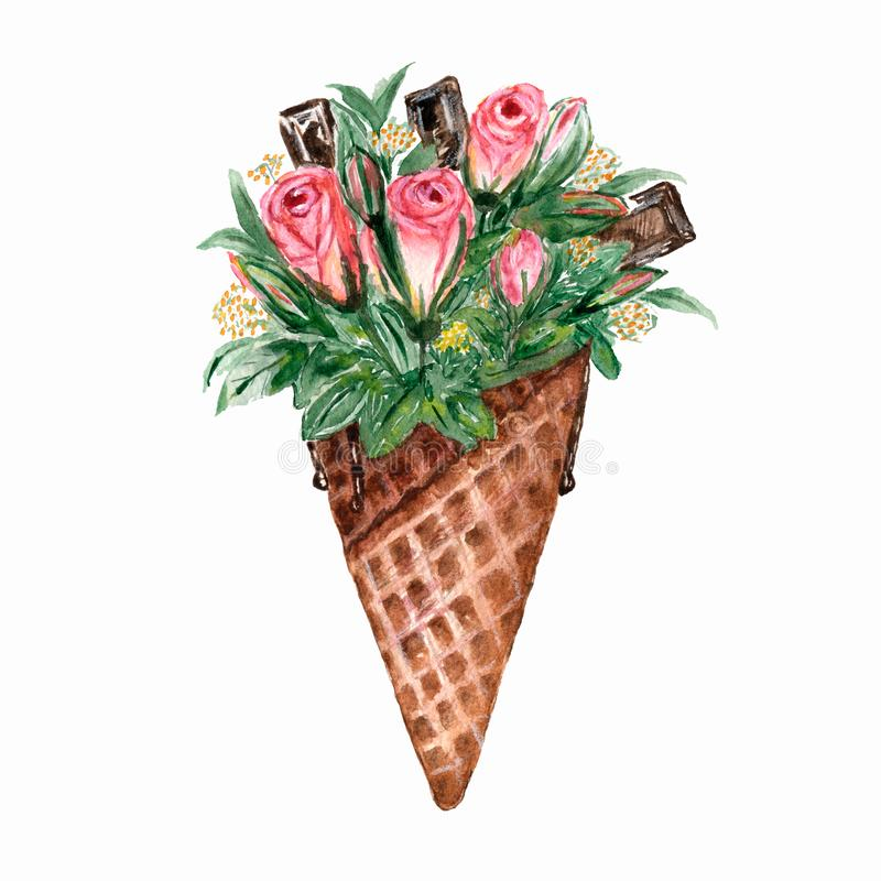 Watercolor waffle cone with flowers roses,chocolate.Watercolor illustration for your design,logo,invitation,wedding,valentines day royalty free illustration