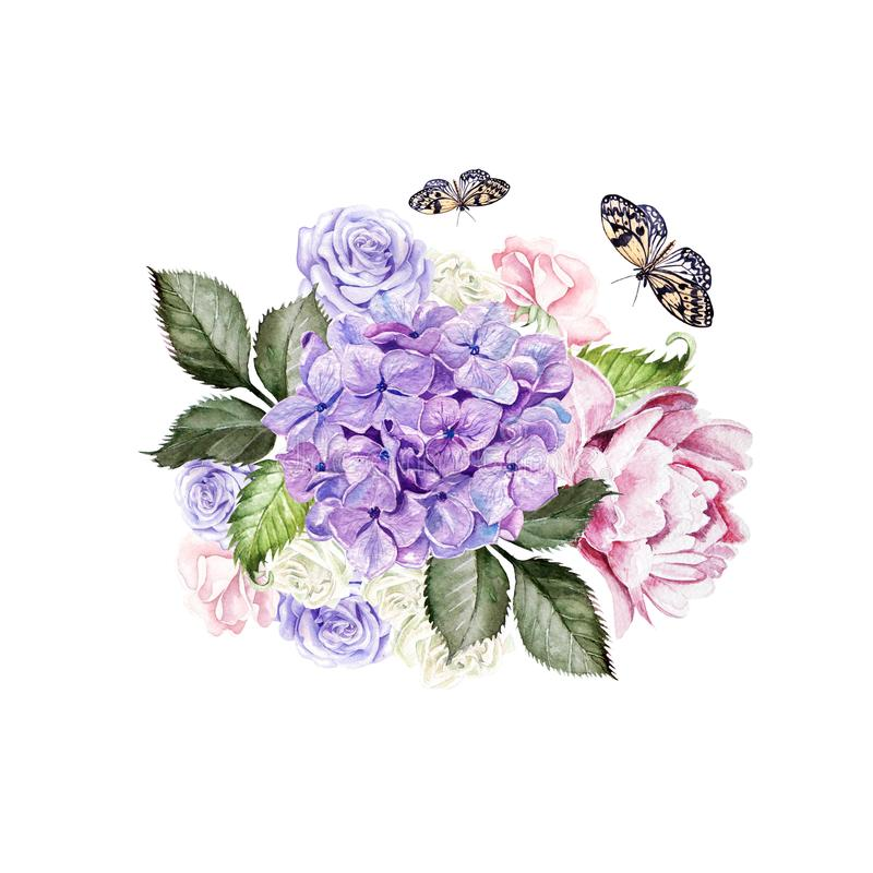 Watercolor wedding bouquet with rose, peony and hydrangea. royalty free illustration