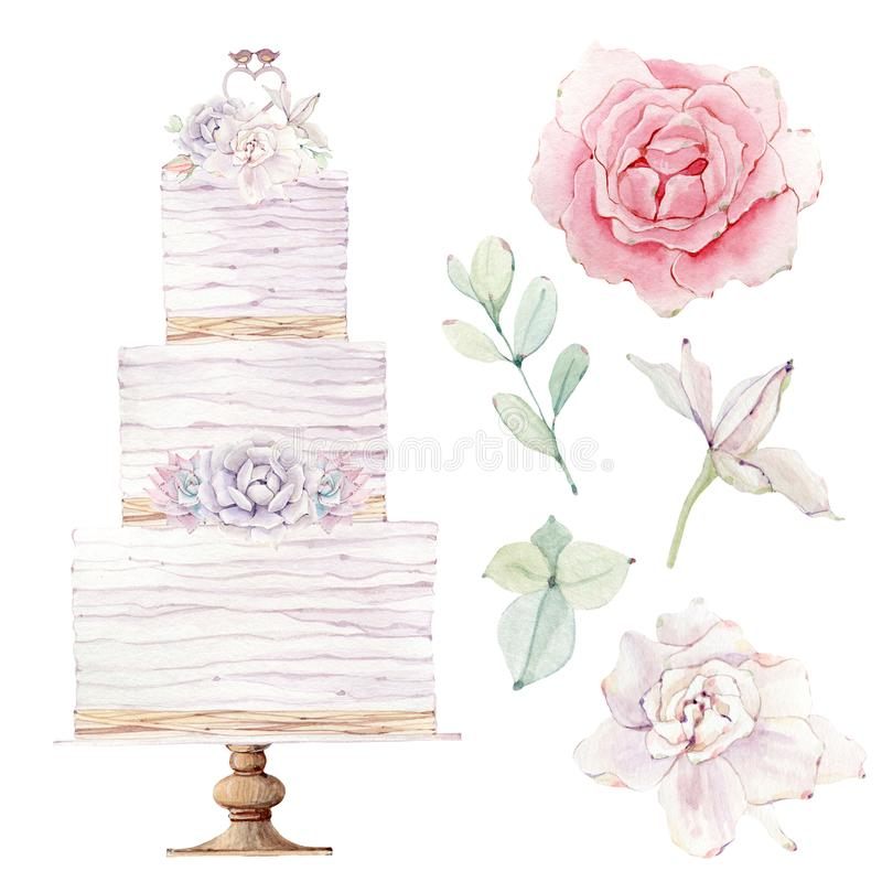 Watercolor wedding cake illustration. royalty free illustration