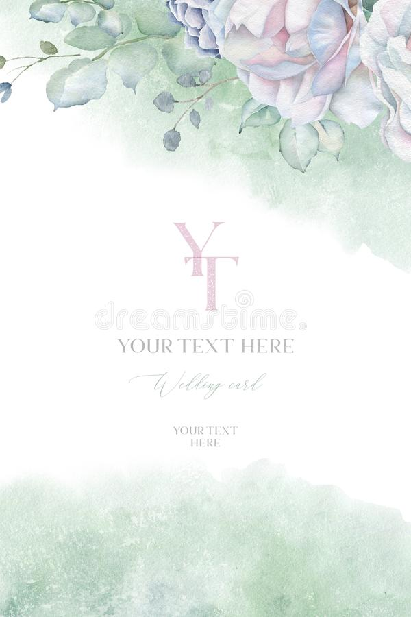 Watercolor wedding card template with white rose and shabby green watercolor texture vector illustration