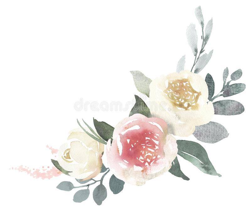 Watercolor wedding floral bouquet composition with white roses a. Nd eucalyptus vector illustration