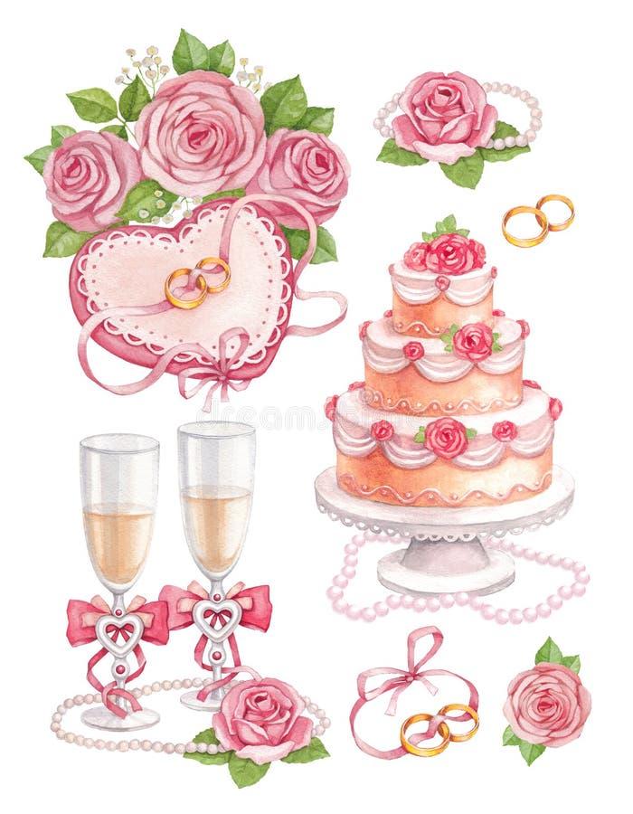 Watercolor wedding illustrations royalty free illustration