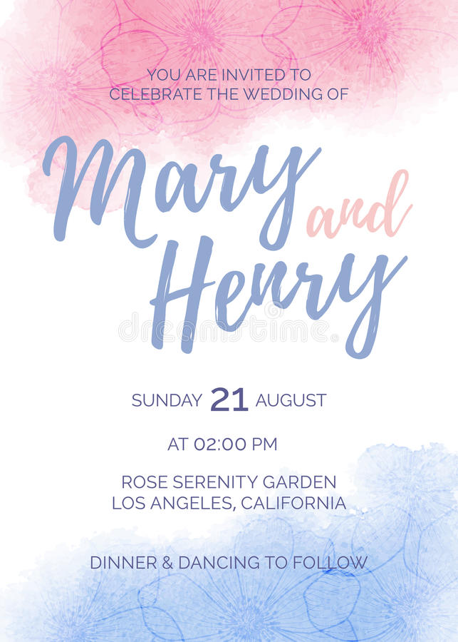 Watercolor wedding invitation of color 2016 Rose Quartz and Serenity. With flower anemone, pink and blue watercolour bridal template for greeting card, hand royalty free illustration