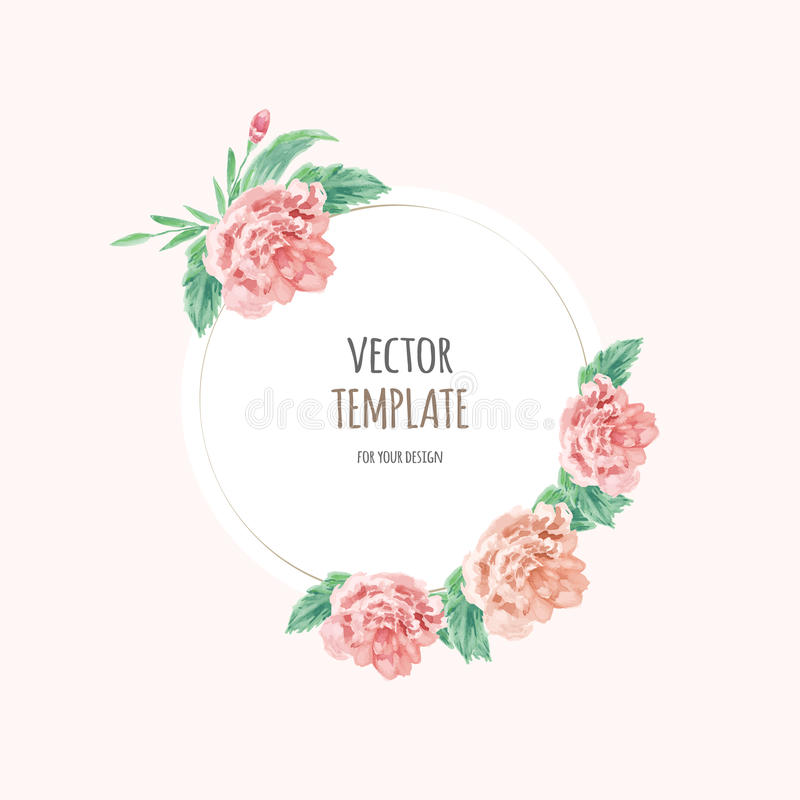 Flower Svg Library Download For Wedding Invitations: Watercolor Wedding Invitation Design With Flower Stock