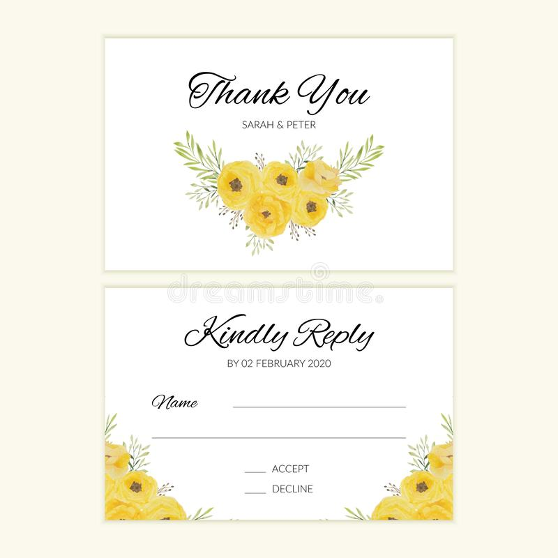 Watercolor wedding RSVP card with yellow rose bouquet 皇族释放例证