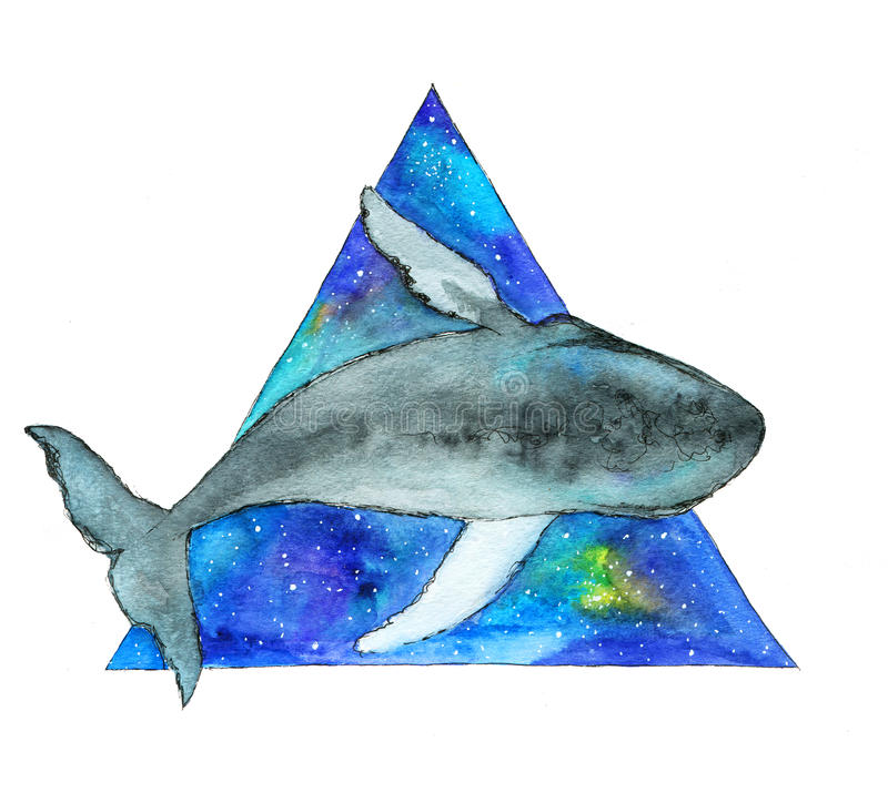 Watercolor whale in space triangle. Hand drawn illustration vector illustration