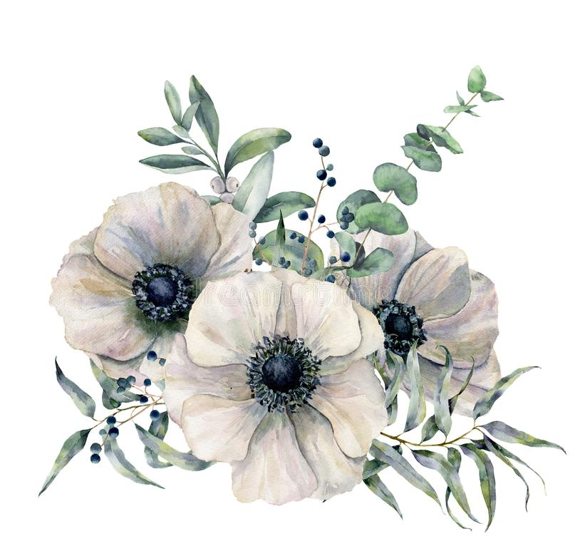Watercolor white anemone bouquet. Hand painted flower, eucalyptus leaves and juniper isolated on white background. Illustration for design, fabric, print or royalty free illustration
