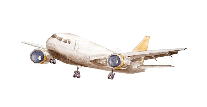 Watercolor white cargo plane with one turbine on wings and a yellow tail flies up into the air isolated on a white vector illustration