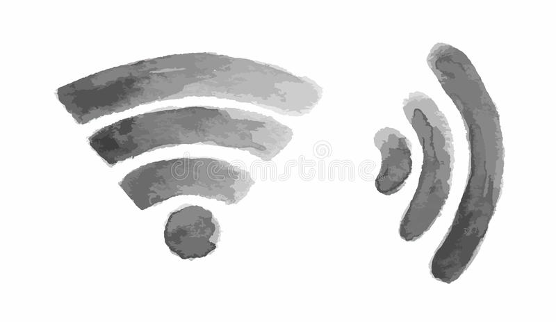 Watercolor wi fi icon. stock images