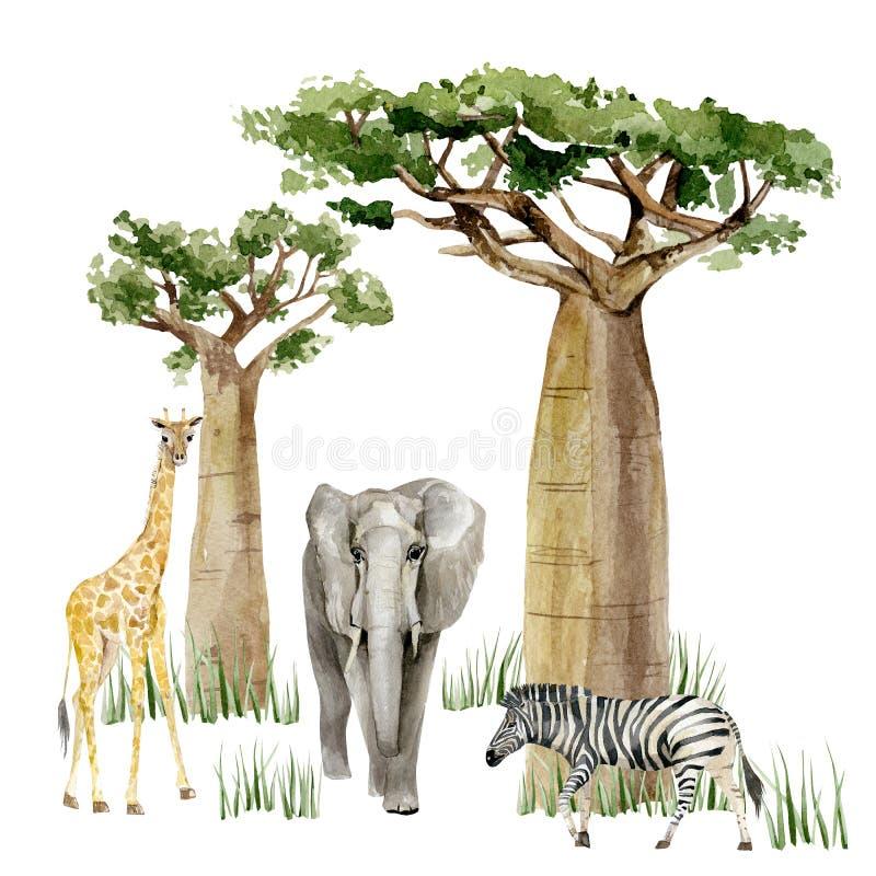 Free Watercolor Wild Africa Animal Savannah Giraffe, Elephant, Zebra And Tree Savaanah. Nature Africa For Greeting Card Stock Photo - 186944370