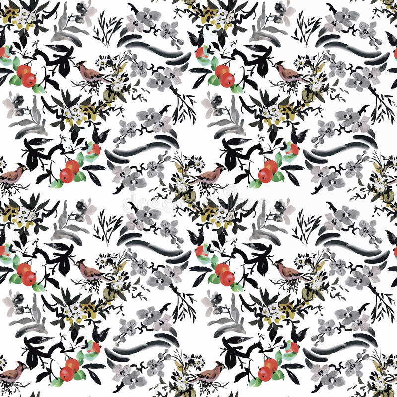 Watercolor Wild exotic birds on flowers seamless pattern on white background stock illustration