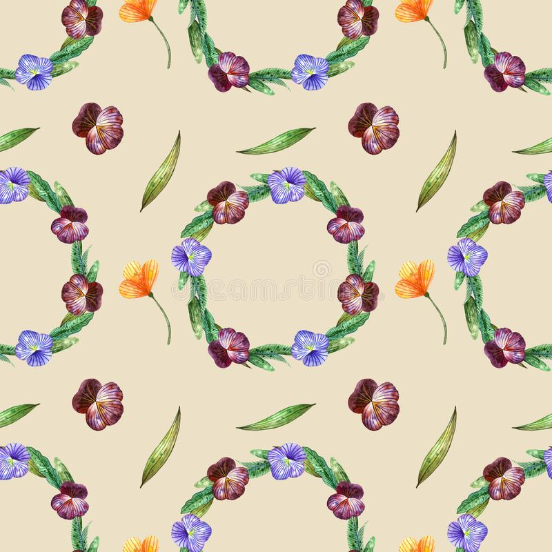 Watercolor wildflowers. Seamless pattern with wreaths of pansies and orange flowers on a beige royalty free illustration