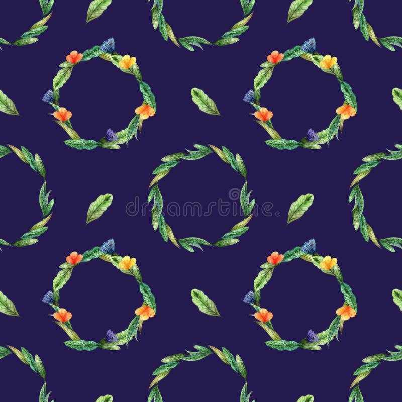 Watercolor wildflowers. Seamless pattern with wreaths of yellow and orange flowers on a dark blue royalty free illustration