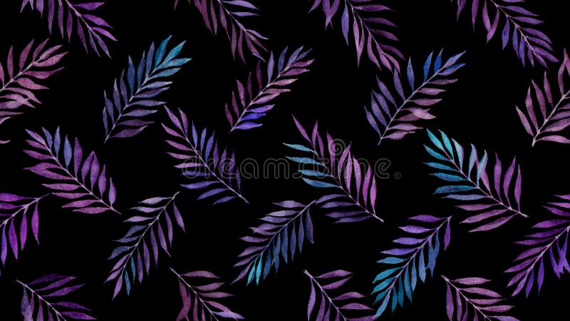 Watercolor willow leaves seamless pattern royalty free stock photography