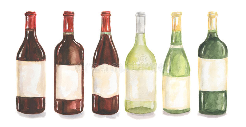Watercolor wine bottles set. stock illustration