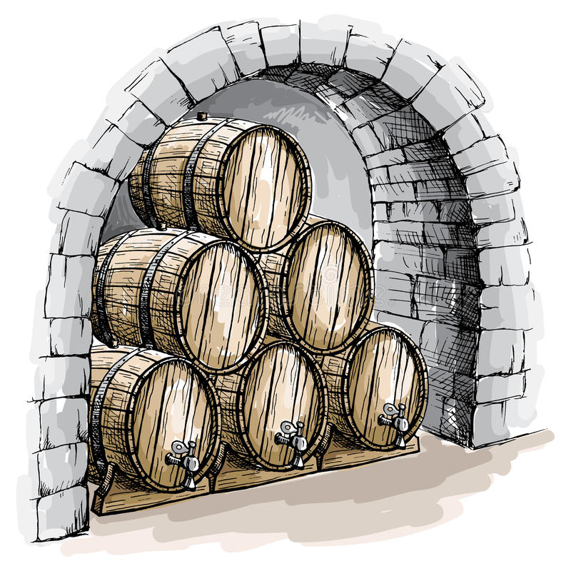 Watercolor wine cellar with barrels. In graphic style hand-drawn vector illustration vector illustration