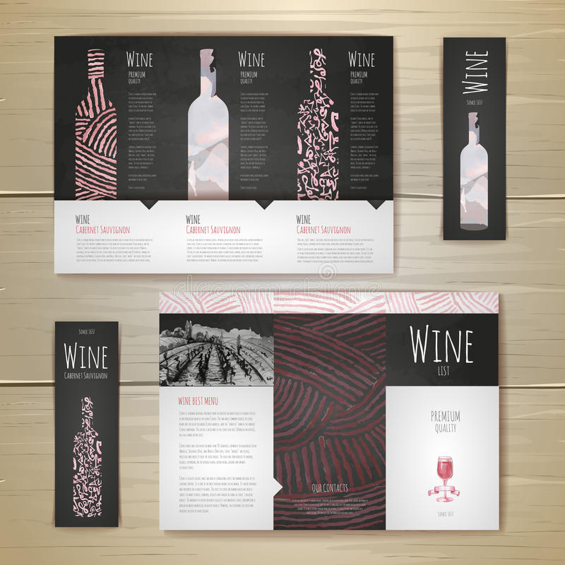 Watercolor Wine concept design. Corporate identity royalty free illustration
