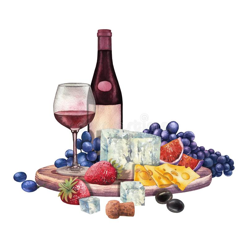 Free Watercolor Wine Glass And Bottle Decorated With Delicious Food Stock Images - 126513914