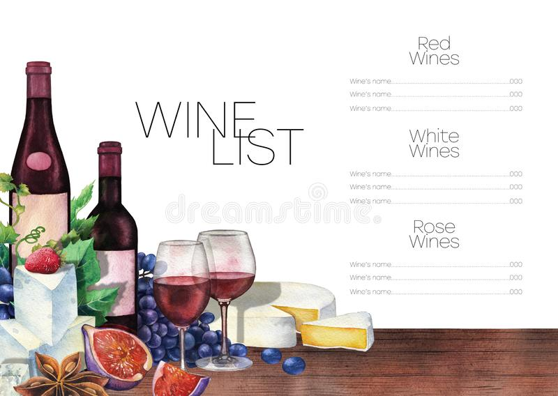 Watercolor wine glasses and bottles decorated with delicious food stock illustration