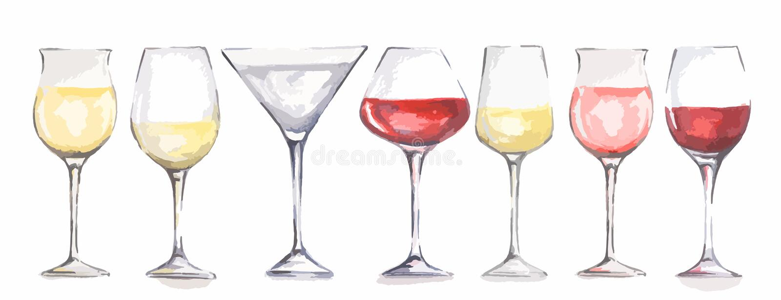Watercolor wine glasses set. Beautiful glasses for decoration menu in restaurant or cafe. Alcoholic beverage