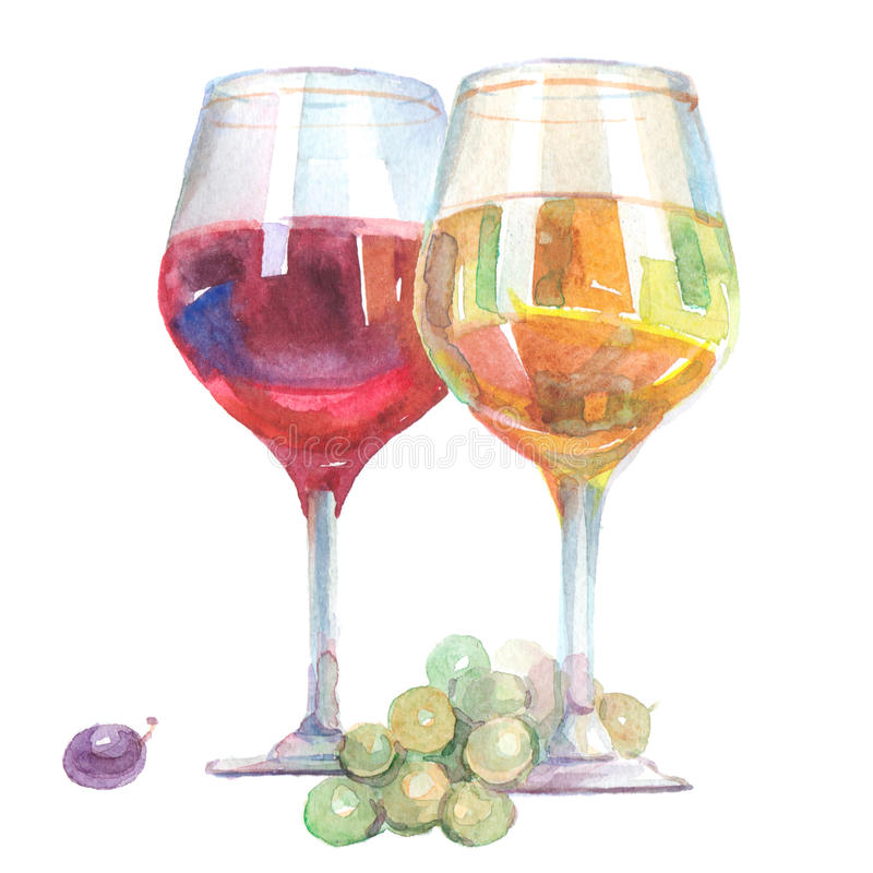 Watercolor wine glasses with white and red wine inside isolated vector illustration