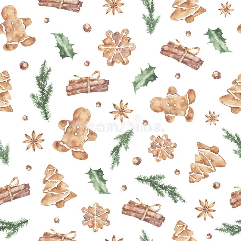 Watercolor winter christmas seamless pattern with ginger cookies cinnamon fir branches stock illustration
