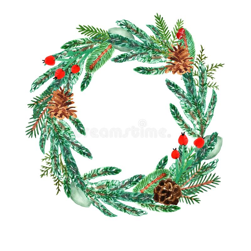 Watercolor Christmas wreath with pine branches, spruce, red berries, pine cones. Winter and autumn holiday farmhouse decor royalty free illustration