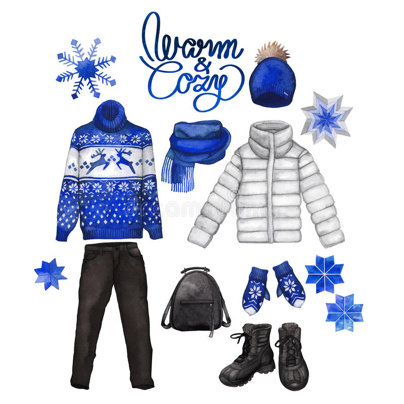 Watercolor winter clothes royalty free illustration