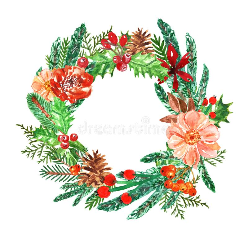 Watercolor Christmas wreath with pine branches, holly, mistletoe and spruce. Winter holiday decor on white background stock illustration