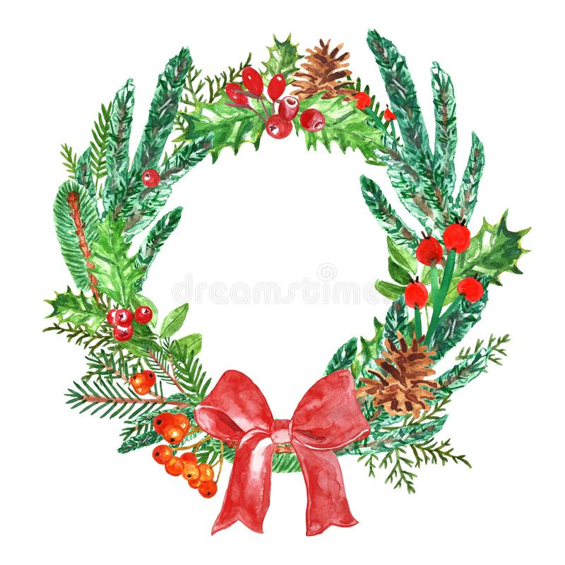 Watercolor Christmas wreath with pine branches, holly, mistletoe and spruce. Winter and autumn holiday decor on white background royalty free illustration