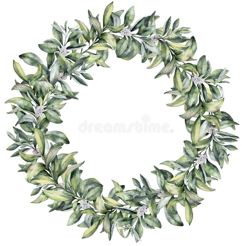 Watercolor winter floral wreath. Hand painted snowberry branch with white berry isolated on white background. Christmas royalty free illustration