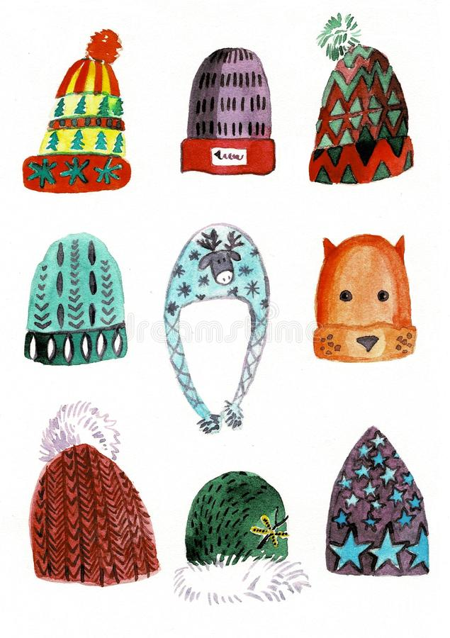 Watercolor winter hats set, isolated on white background. stock illustration
