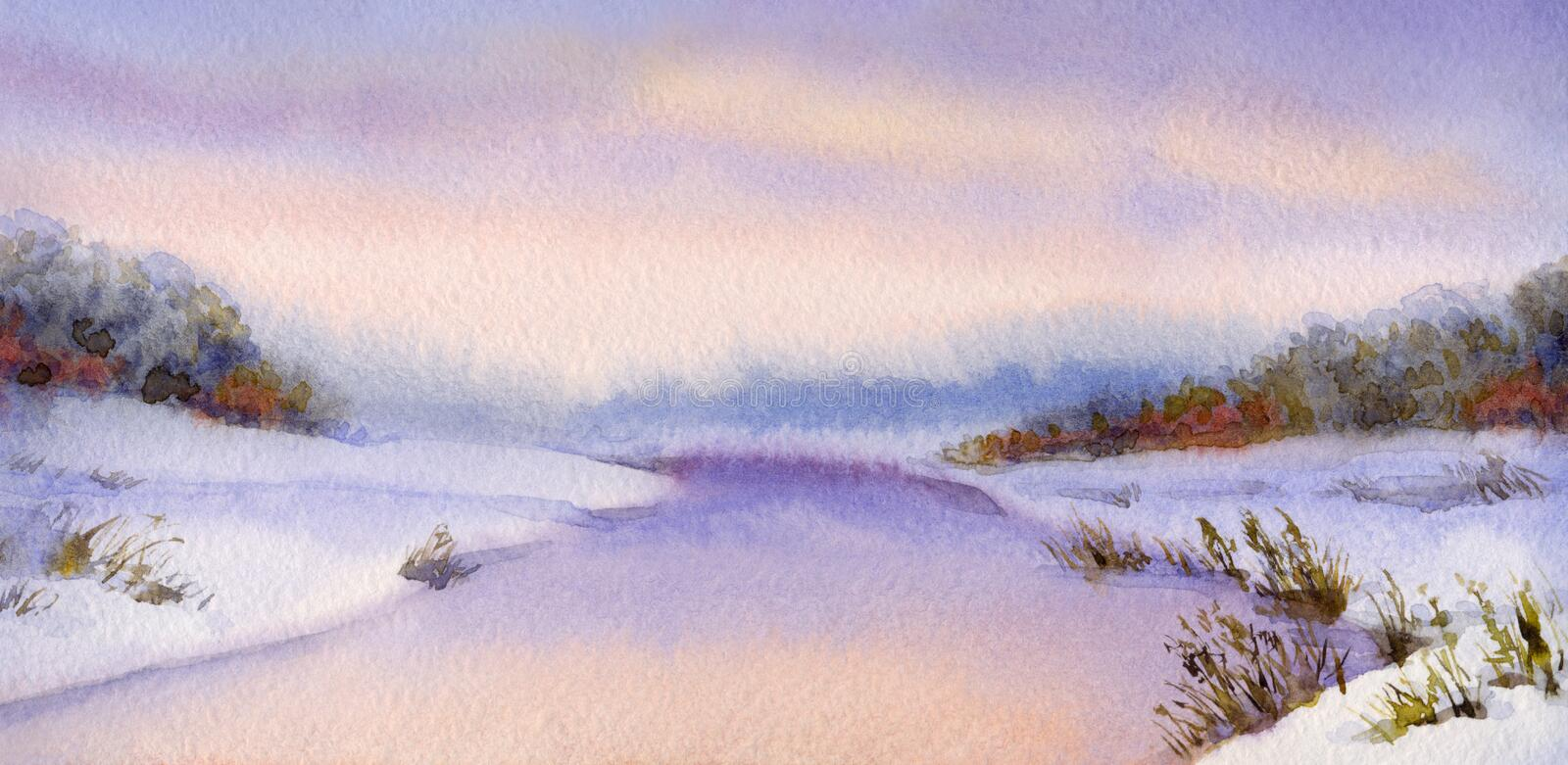 Watercolor winter landscape. Evening sky over river. Watercolor winter landscape. Evening sky over the foggy valley with river royalty free illustration