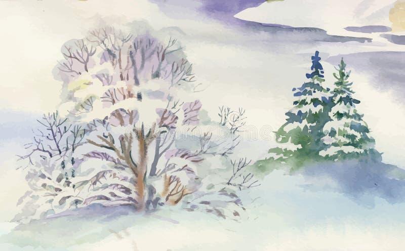Watercolor winter landscape illustration. stock illustration